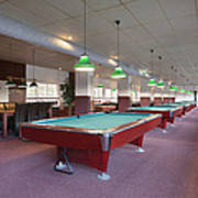 Five Pool Billiards Tables In A Row Print by Corepics