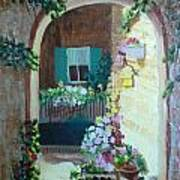 Flowers In Stone Doorway Print by Jeanene Miller