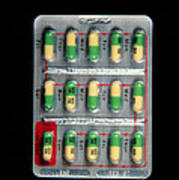 Foil Pack Of Prozac Pills Print by Damien Lovegrove