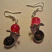 Follow Your Heart Pink Earrings Print by Jenna Green