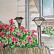 Front Yard Lights Sketchbook Project Down My Street Print by Irina Sztukowski