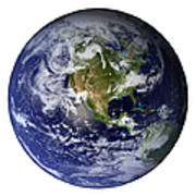 Full Earth Showing North America White Print by Stocktrek Images