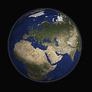 Full Earth View Showing Africa, Europe Print by Stocktrek Images