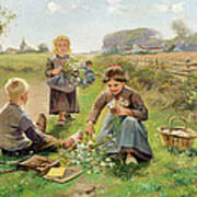 Gathering Flowers Print by Joseph Julien