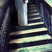 Girl In Nightgown On Steps Print by Jill Battaglia