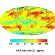 Global Carbon Dioxide Transport, 2008 Print by Nasajpl