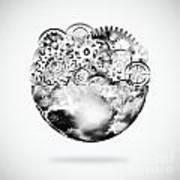 Globe With Cogs And Gears Print by Setsiri Silapasuwanchai