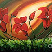Glowing Flowers 4 Print by Uma Devi