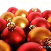 Gold And Red Xmas Balls Print by Carlos Caetano