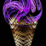 Grape Ice Cream Cone Print by Andee Design