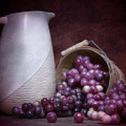 Grapes With Pitcher Still Life Print by Tom Mc Nemar
