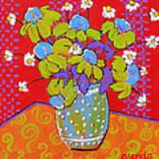 Green Daisy Bouquet Print by Blenda Studio