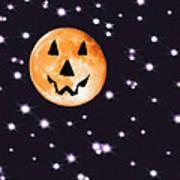 Halloween Night - Moon And Stars Print by Steve Ohlsen