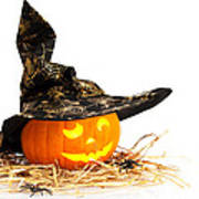 Halloween Pumpkin With Witches Hat Print by Amanda Elwell