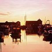 Harbor At Sunrise Print by Bilderbuch