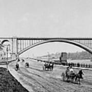 Harlem River Speedway Scene Beneath The George Washington Bridge Print by International  Images