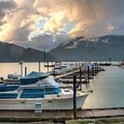 Harrison Lake At Dusk Print by Lawrence Christopher
