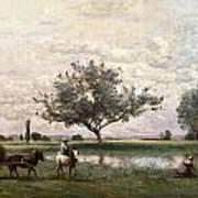 Haycart Beside A River  Print by Jean Baptiste Camille Corot