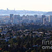 Hazy San Francisco Skyline Viewed Through The Oakland Skyline . 7d11341 Print by Wingsdomain Art and Photography