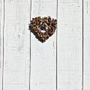 Heart Wreath On Wood Wall Print by Garry Gay