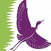 Heron Crane Flying Retro Print by Aloysius Patrimonio
