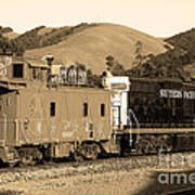 Historic Niles Trains In California.southern Pacific Locomotive And Sante Fe Caboose.7d10843.sepia Print by Wingsdomain Art and Photography