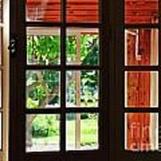 Home Garden Through Window Print by Sami Sarkis