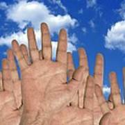 Human Hands And The Sky, Conceptual Image Print by Victor De Schwanberg