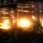 Illuminated Mason Jars Print by Christy Beal