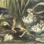 In Fairyland Fairies And Waterlilies Print by Richard Doyle