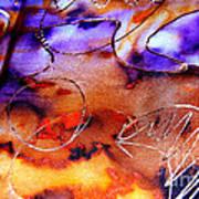 Indigo Brown Orange Yellow And Silver  Print by Alexandra Jordankova