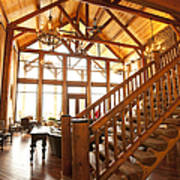 Interior Of Large Wooden Lodge Print by Will and Deni McIntyre
