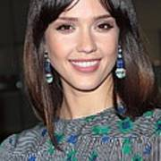 Jessica Alba Wearing Vintage Earrings Print by Everett
