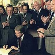Jimmy Carter Signs Airline Deregulation Print by Everett