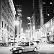 Junction Of Salisbury Road And Nathan Road Tsim Sha Tsui Kowloon At Night Hong Kong Hksar China Asia Print by Joe Fox