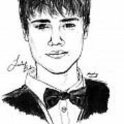 Justin Bieber Suit Drawing Print by Pierre Louis