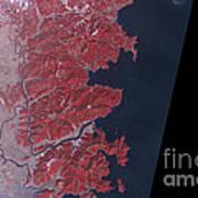 Kitakami River, Japan, Before Tsunami Print by National Aeronautics and Space Administration