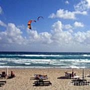 Kite Boarding In Boca Raton Florida Print by Merton Allen
