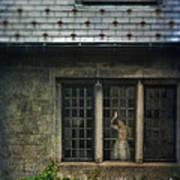 Lady By Window Of Tudor Mansion Print by Jill Battaglia