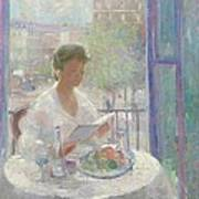 Lady Reading At An Open Window  Print by Clementine Helene Dufau
