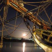 Lady Washington - Moonlight On Coos Bay Print by Gary Rifkin