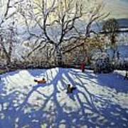 Large Tree And Tobogganers Print by Andrew Macara