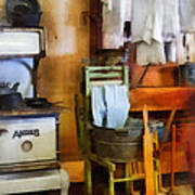 Laundry Drying In Kitchen Print by Susan Savad