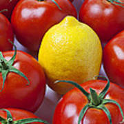 Lemon And Tomatoes Print by Garry Gay