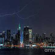 Lightning Over New York City Ix Print by Clarence Holmes