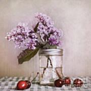 Lilac And Cherries Print by Priska Wettstein
