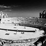 Looking Down On Main Arena Of Old Roman Colloseum El Jem Tunisia Print by Joe Fox