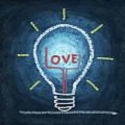 Love Word In Light Bulb Print by Setsiri Silapasuwanchai