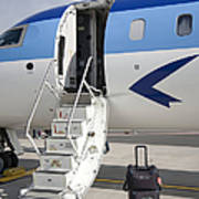 Luggage Near Airplane Steps Print by Jaak Nilson