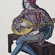 Lute Player, 1839 Print by Granger